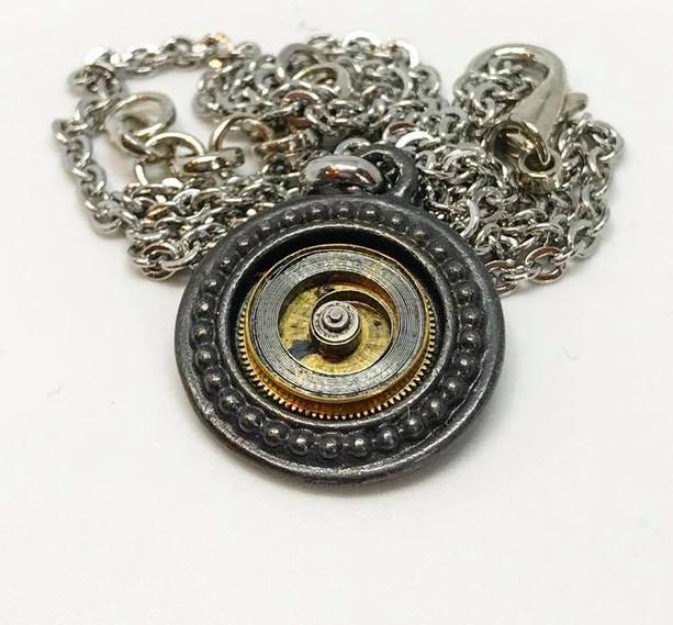 Spiral spring steampunk pendant