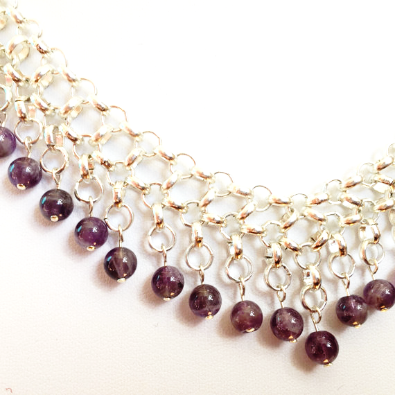 Gold plate and amethyst Byzantine inspired choker