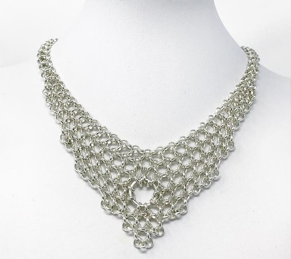 Silver-plated Japanese micro chainmail choker.