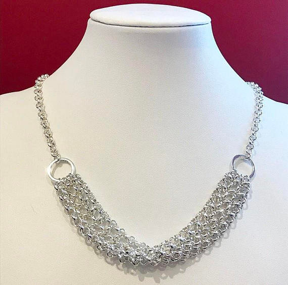 Elegant draped silver-plated chainmail necklace