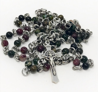 Tourmaline and steel rosary