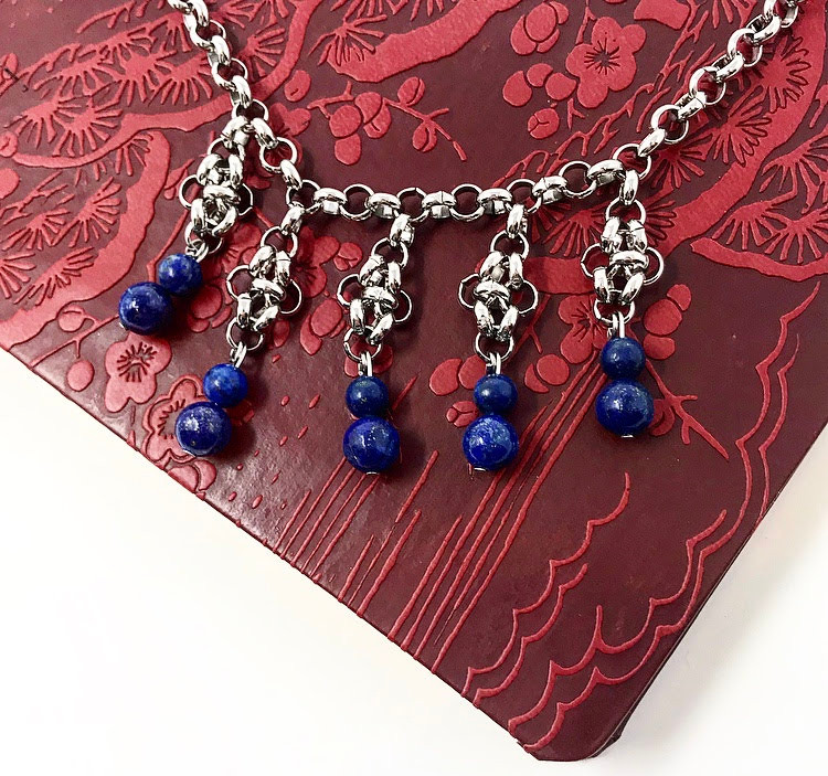 Lapis and steel chain dangle necklace