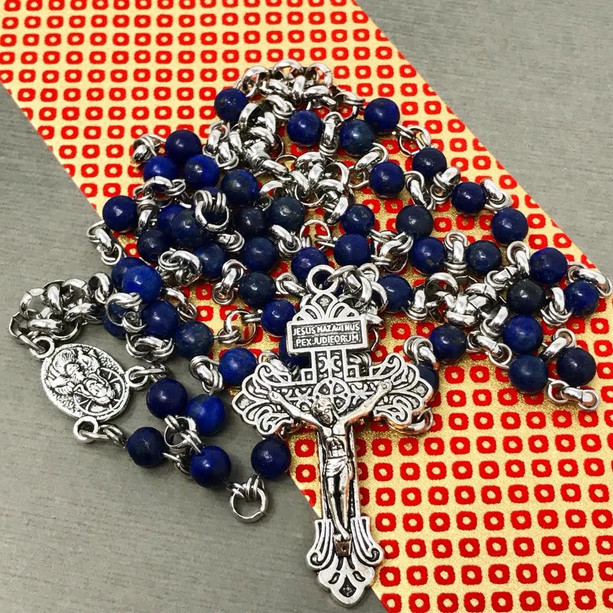 Lapis chainmail rosary