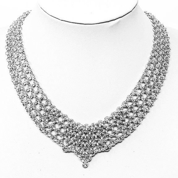 Wide chainmail necklace with shaped centerpiece