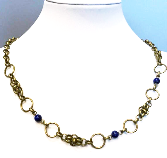 Viking-inspired bronze and lapis necklace