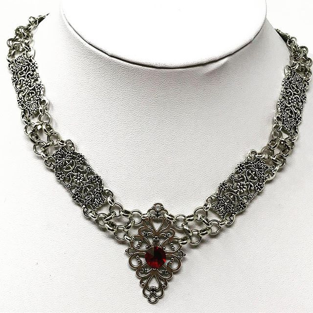 Steampunk white gold plated Victorian choker