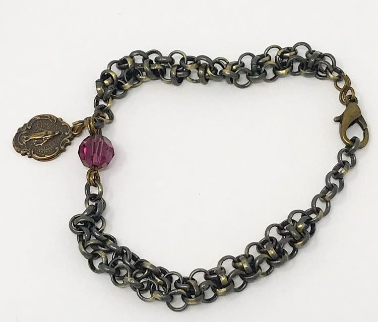 Bronze chainmail bracelet with miraculous medal