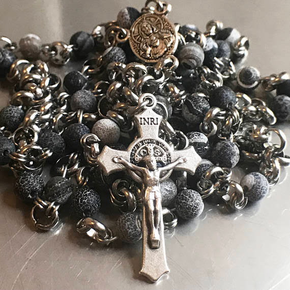 Stone and steel rosary