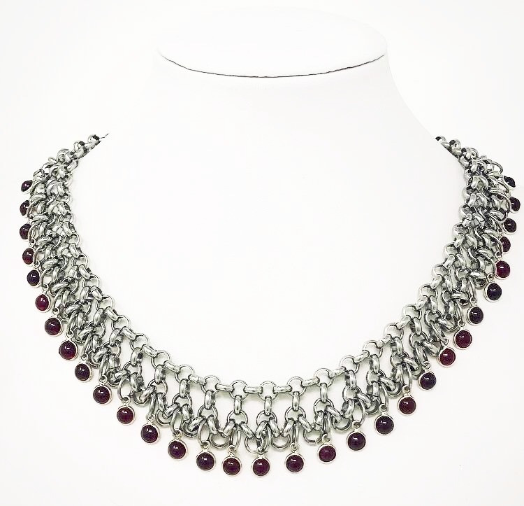 Byzantine style garnet and steel necklace