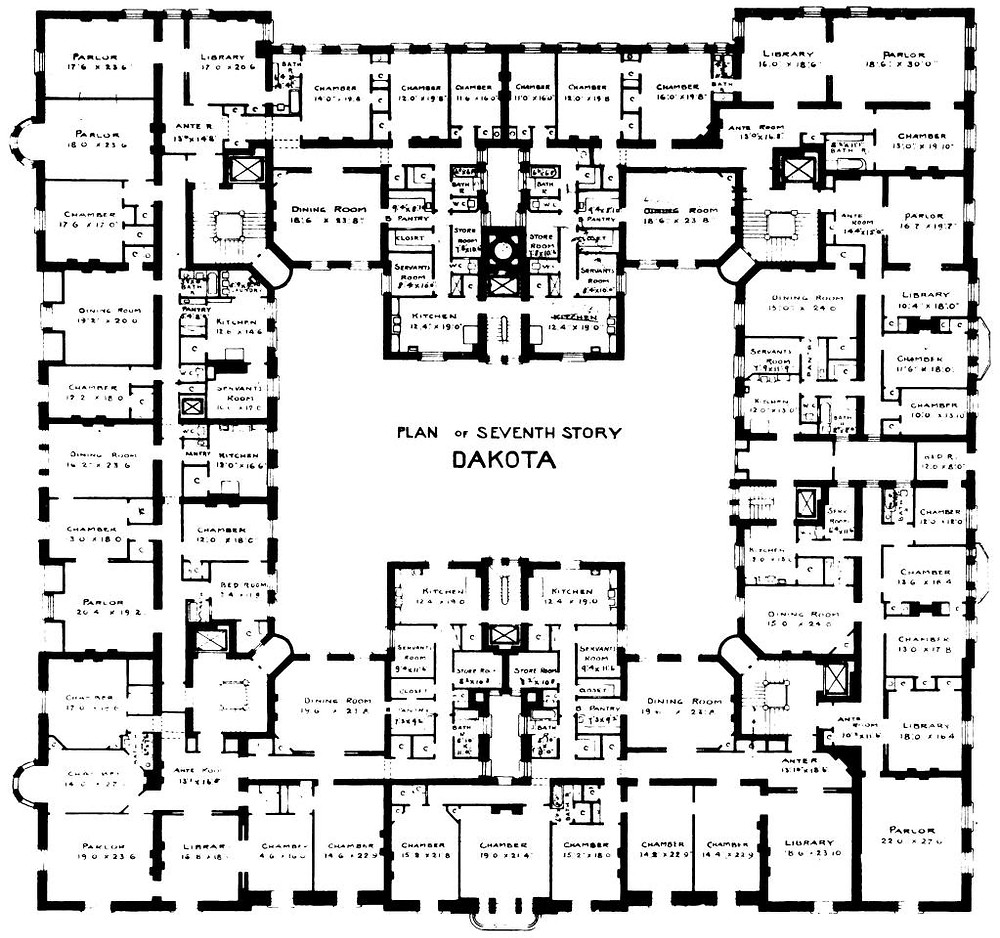 Floor plan of the 7th floor at The Dakota