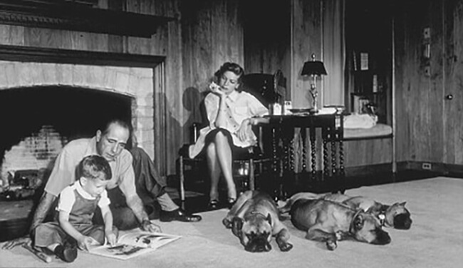 Bacall Bogart and Stephen with  Harvey, George and Baby
