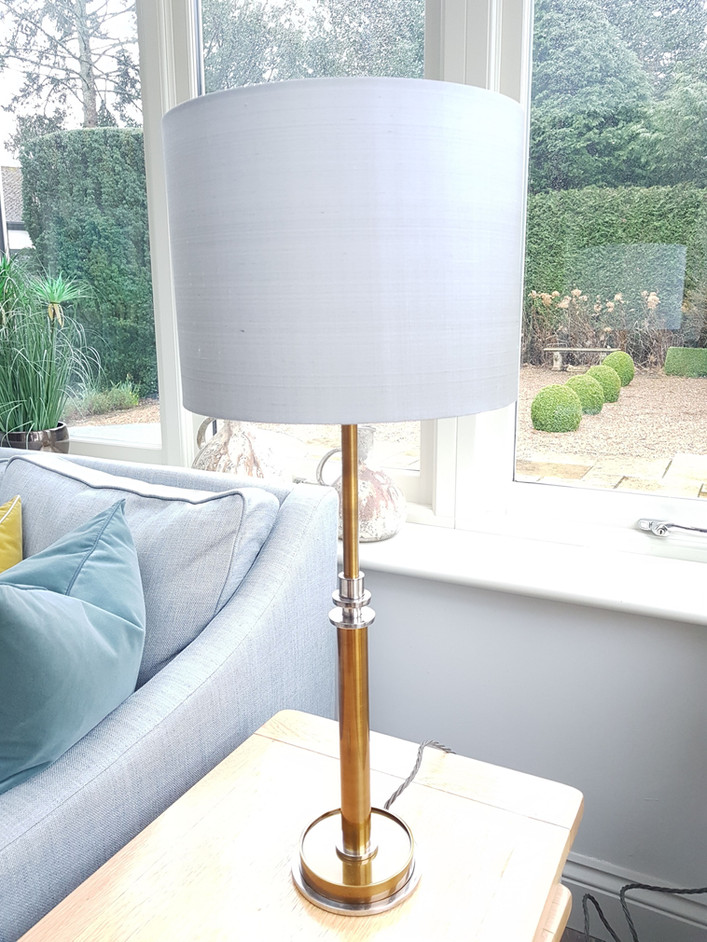 Brass base table lamp and silk shadepg