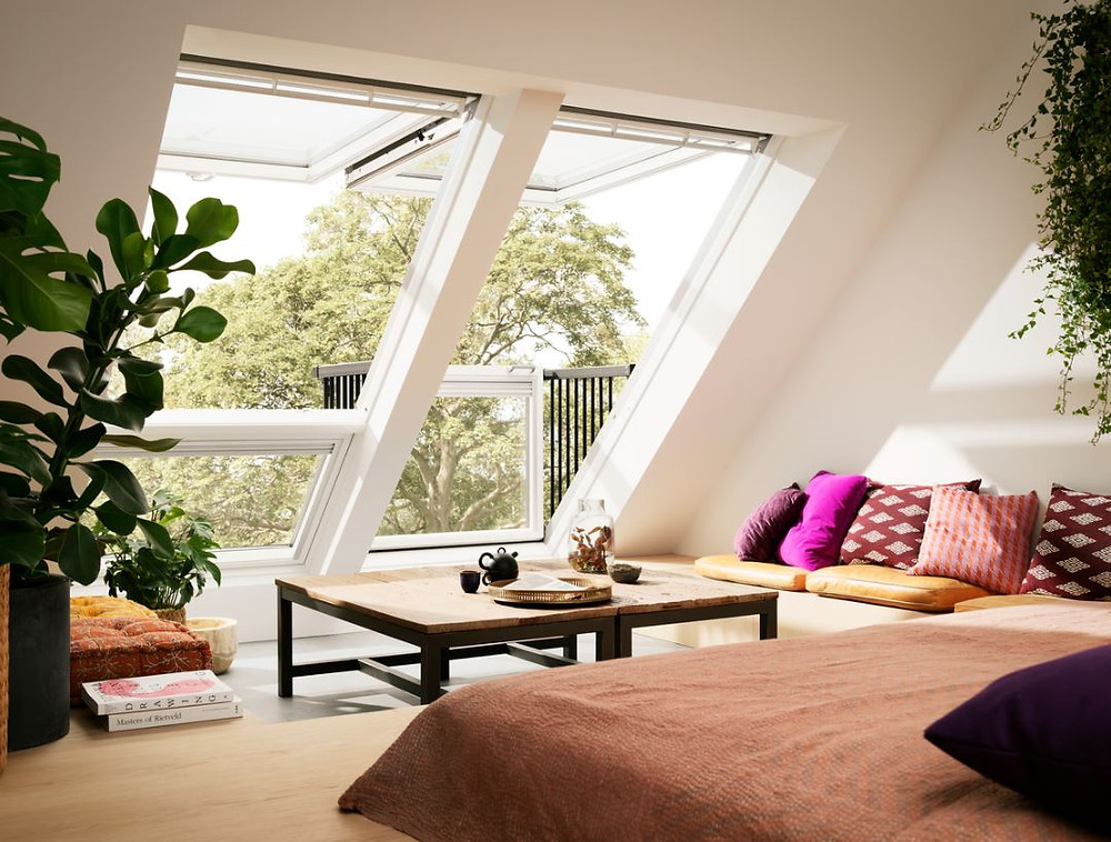 Velux Caribo balcony. A space saving dormer style window which opens up into a balcony.