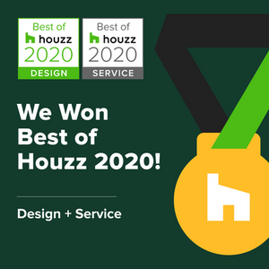 Gold medal award image given to Fusion Interior Design for best service and design 2020
