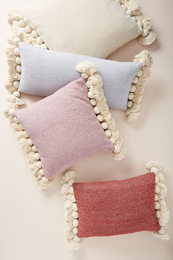 tasselled chenille cushion in pastel colours