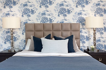 bedroom interior design blue walls