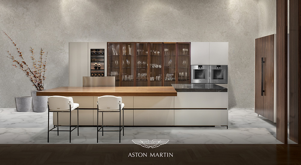 The new Aston Martin kitchen by Formitalia. Bar area with 2 cream bar stools high end finish