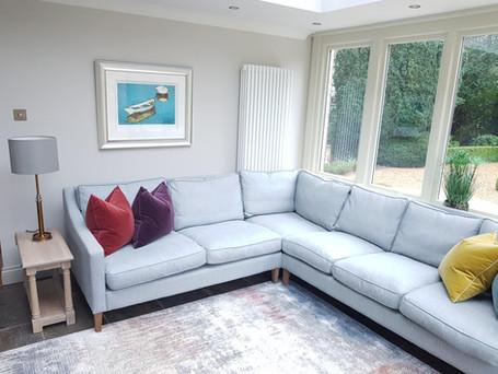 Blue sofa in the sun room