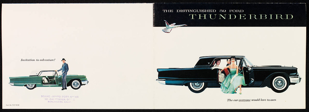 Promotional sales brochure advertising the 1959 Ford Thunderbird, issued by the Ford Motor Company, printed 1958, US. Museum no. E.190-1990. © Victoria and Albert Museum, London