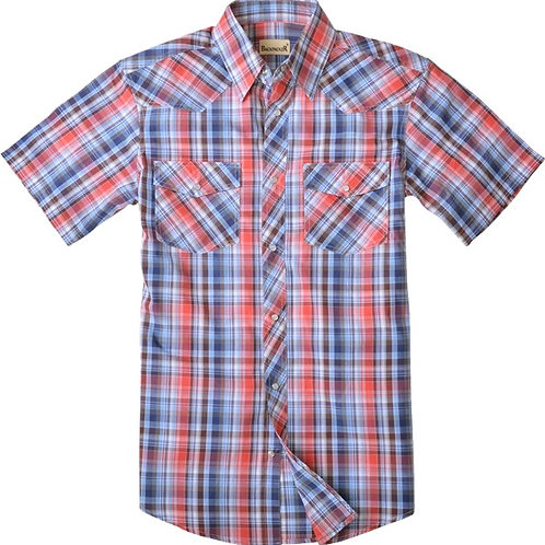 Big Sky Western Shirt - Coral Blue