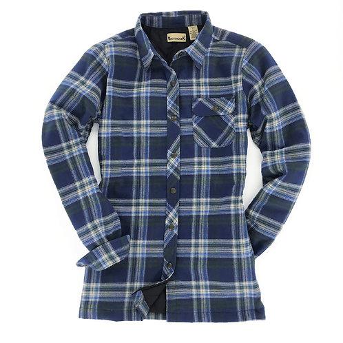 Women's Flannel Shirt Jac - Blue Green