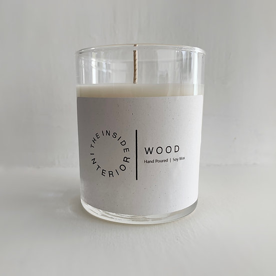 WOOD, Hand Poured 100% soy wax candle