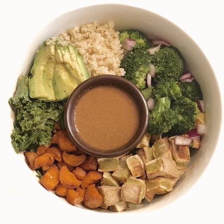 Winter Nourish Bowl with No-Peanut Satay Sauce Recipe (Vegan, GF, SF)