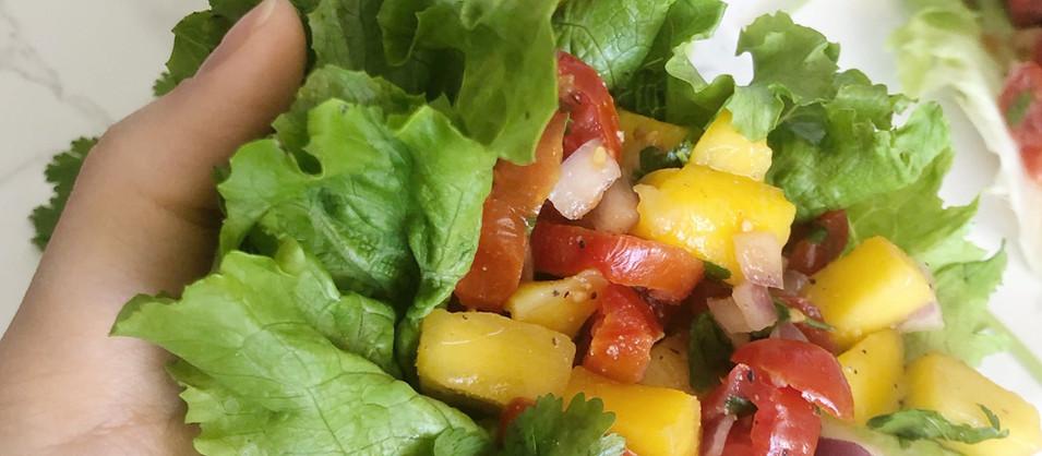Lettuce Cups + Mango Salsa Recipe (Raw, Vegan, GF, SF, FF)