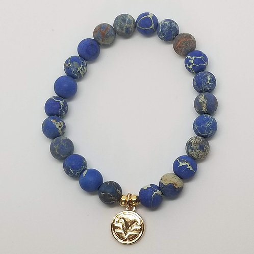 Science of Mind Beaded Bracelet in Matte Blue Imperial Jasper
