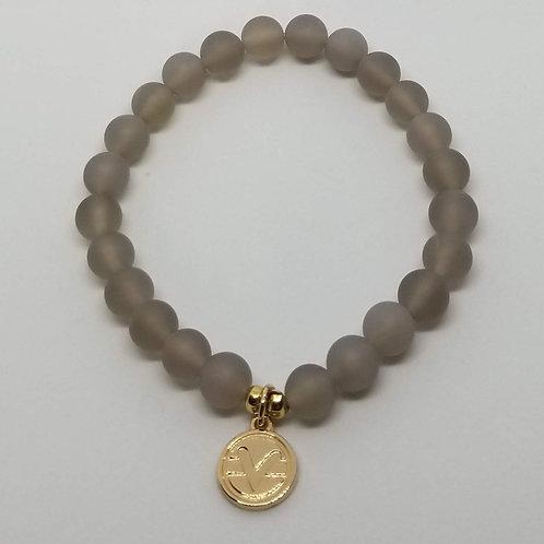 Science of Mind Beaded Bracelet in Matte Grey Quartz