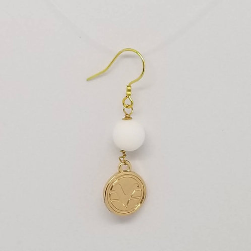 Beaded Science of Mind Earrings in Matte White Agate