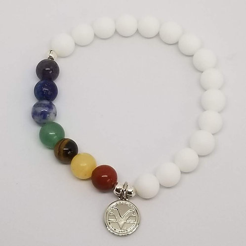Science of Mind Pride Bracelet with Matte White Agate