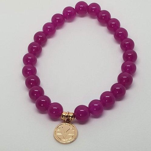 Science of Mind Beaded Bracelet in Raspberry Jade