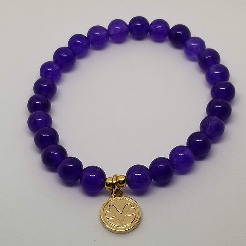 Science of Mind Beaded Bracelet in Purple Jade