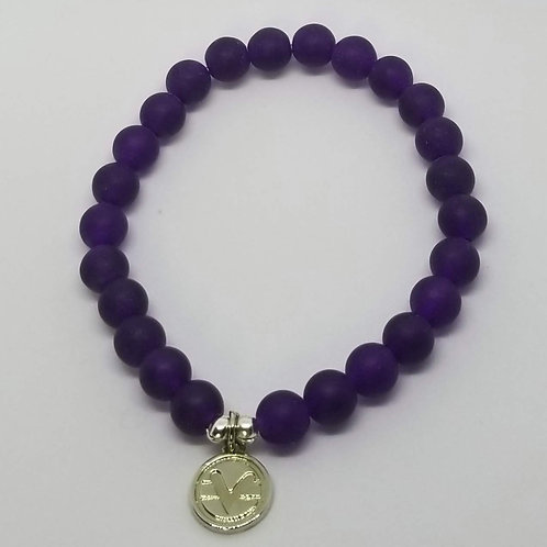 Science of Mind Beaded Bracelet in Matte Purple Jade