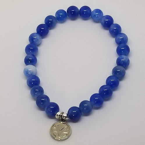 Science of Mind Beaded Bracelet in Blueberry Jade