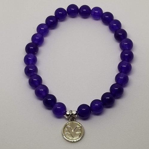 Science of Mind Beaded Bracelet in Purple Jade