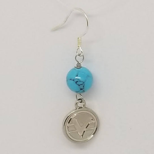 Beaded Science of Mind Earrings in Turquoise Howlite