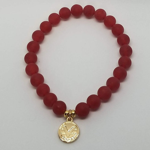 Science of Mind Beaded Bracelet in Matte Red Jade