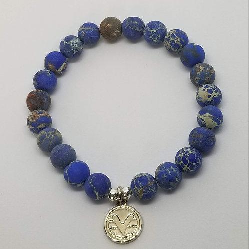Science of Mind Beaded Bracelet in Matte Blue Imperial Jasper