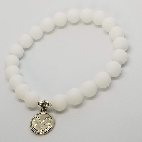 Science of Mind Beaded Bracelet in Matte White Jasper