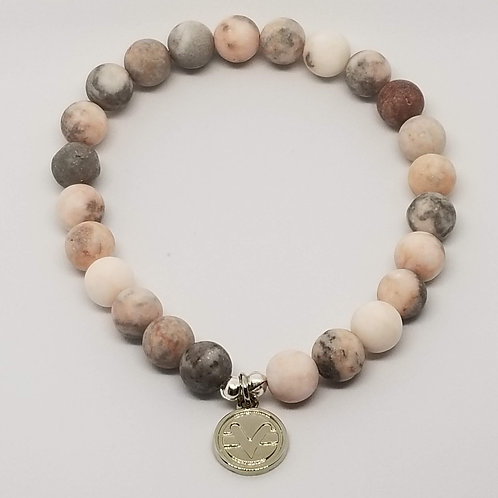 Science of Mind Beaded Bracelet in Matte Pink Zebra Jasper