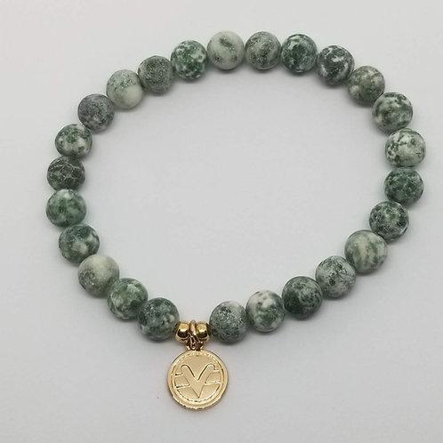 Science of Mind Beaded Bracelet in Matte Green Spot Jasper