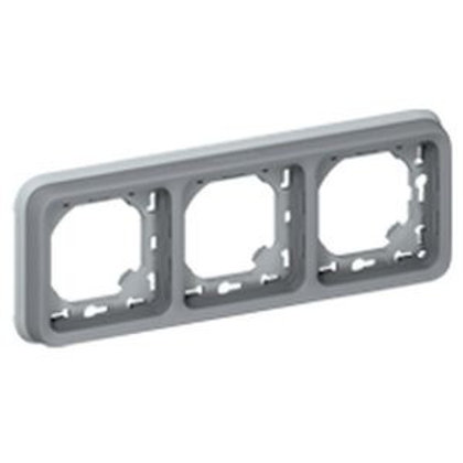 SUPPORT PLAQUE POUR ENCASTRÉ LEGRAND PLEXO COMPOSABLE GRIS - 3 POSTES HORIZ