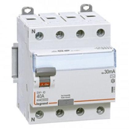 INTERRUPTEUR DIFFÉRENTIEL DX3 - ID - VIS/VIS - 4P- 400V~-40A - TYPE AC - 30MA -