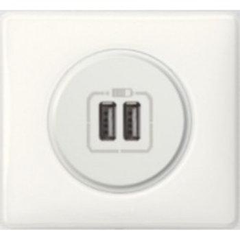 Prise chargeur USB double Legrand Céliane Blanc complet