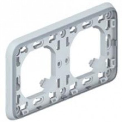 SUPPORT PLAQUE POUR ENCASTRÉ LEGRAND PLEXO COMPOSABLE GRIS - 2 POSTES HORIZ