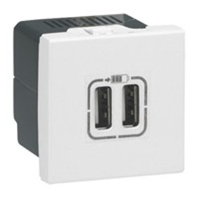 ALIMENTATION USB LEGRAND 230 V / 5 V - 2 PORTS - 2 MODULES - BLANC