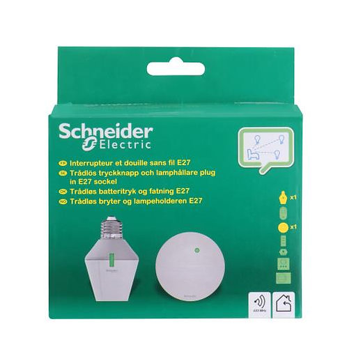 Interrupteur va-et-vient + Douille sans fil E27 Schneider Electric Blanc