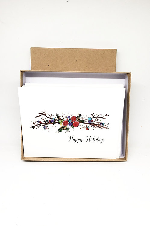 12 Pack of Holiday Greeting Cards | Watercolour Christmas Cards